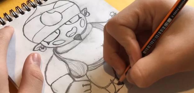 Джин из Brawl Stars карандашом 7