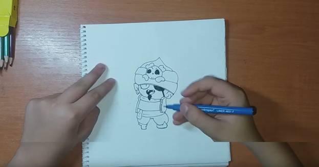 Джин-Пират из Brawl Stars карандашом 5
