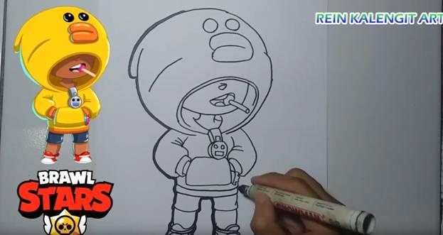 Как нарисовать Леона из Бравл Старс: карандашом, по ...