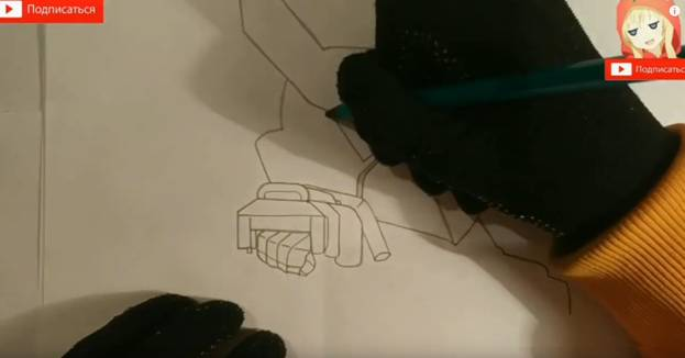 Ворон-меха из Brawl Stars карандашом 4