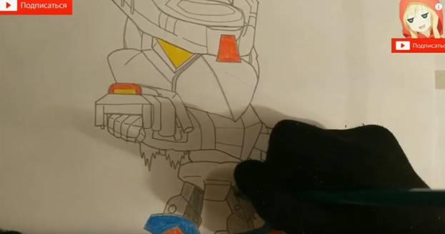 Ворон-меха из Brawl Stars карандашом 8